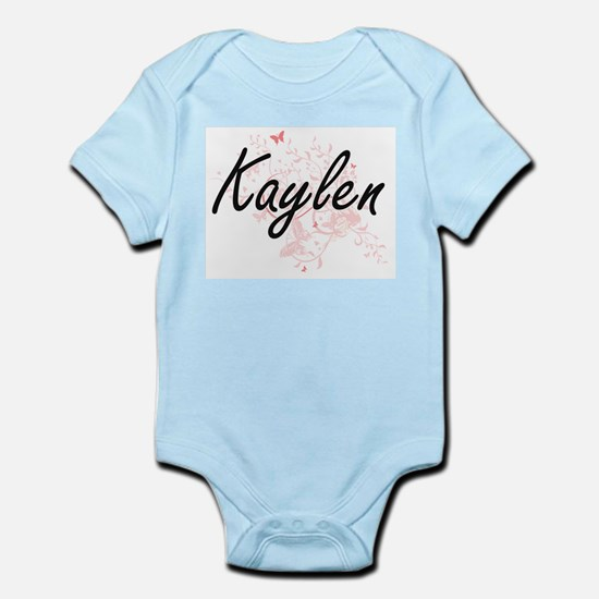Kaylen Artistic Name Design with Butterf Body Suit