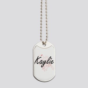 Kaylie Artistic Name Design with Butterfl Dog Tags