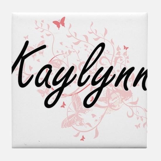 Kaylynn Artistic Name Design with But Tile Coaster