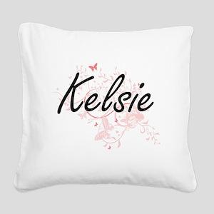 Kelsie Artistic Name Design w Square Canvas Pillow