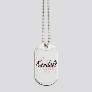 Kendall Artistic Name Design with Butterf Dog Tags
