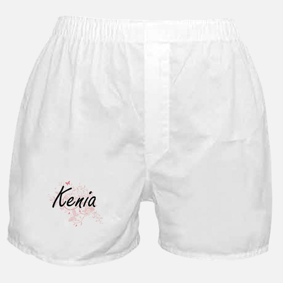 Kenia Artistic Name Design with Butte Boxer Shorts