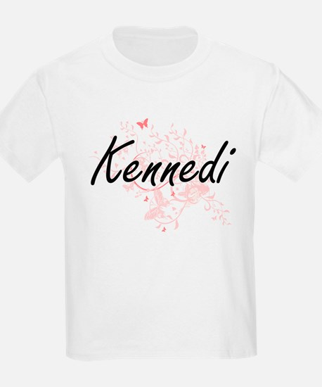 Kennedi Artistic Name Design with Butterfl T-Shirt