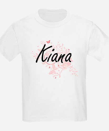 Kiana Artistic Name Design with Butterflie T-Shirt