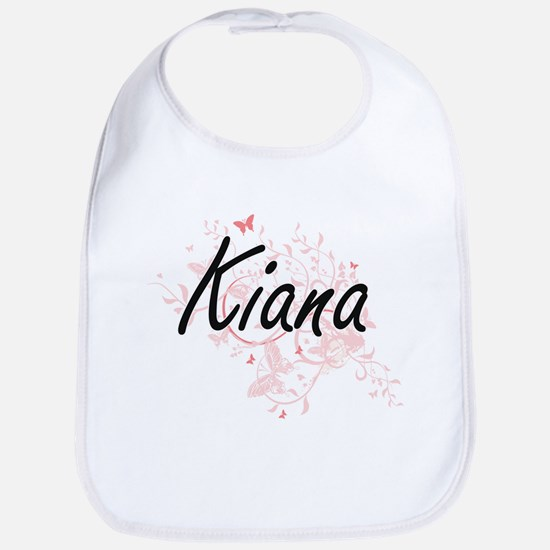 Kiana Artistic Name Design with Butterflies Bib