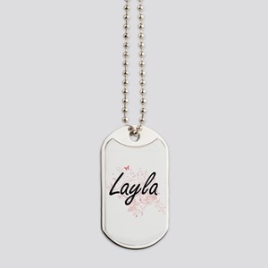 Layla Artistic Name Design with Butterfli Dog Tags