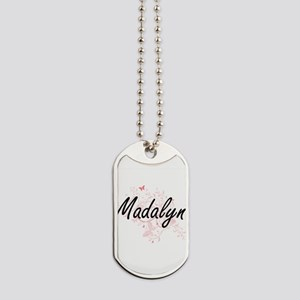 Madalyn Artistic Name Design with Butterf Dog Tags