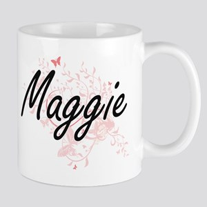 Maggie Artistic Name Design with Butterflies Mugs