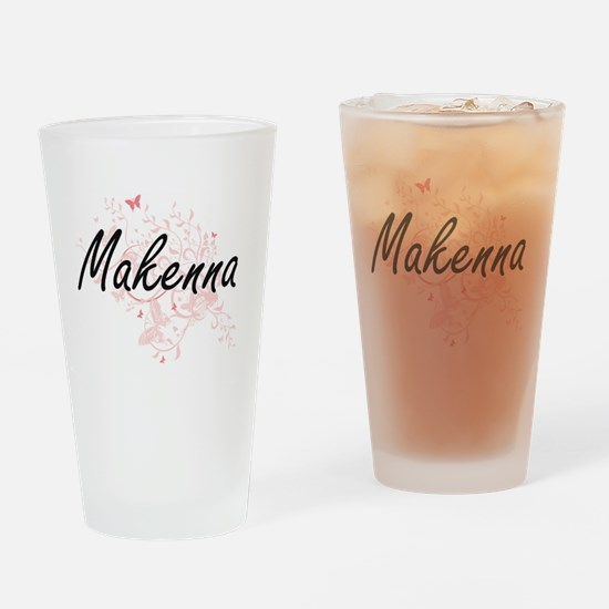 Makenna Artistic Name Design with B Drinking Glass