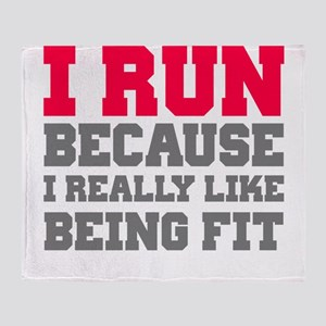 I run because i really like being fit Throw Blanke