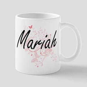 Mariah Artistic Name Design with Butterflies Mugs
