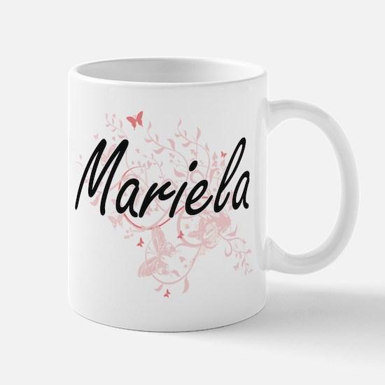 Mariela Artistic Name Design with Butterflies Mugs