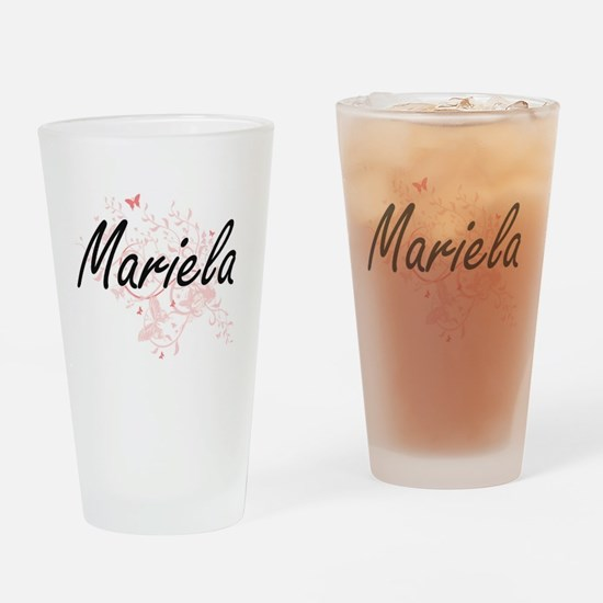 Mariela Artistic Name Design with B Drinking Glass