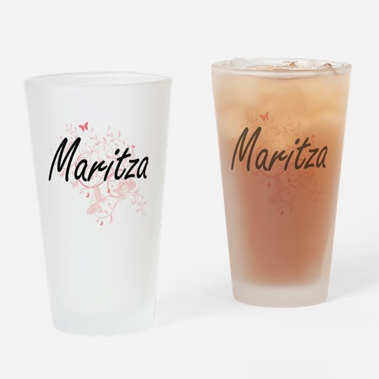 Maritza Artistic Name Design with B Drinking Glass