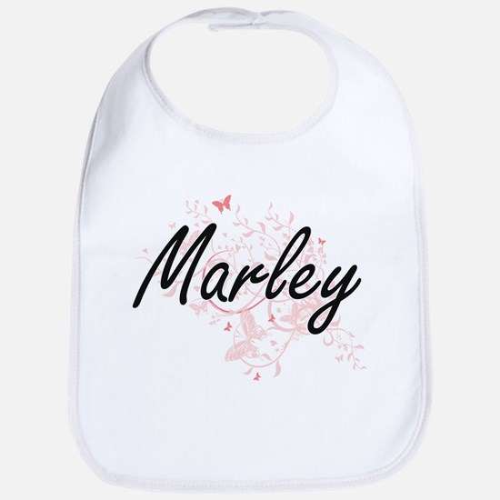 Marley Artistic Name Design with Butterflies Bib