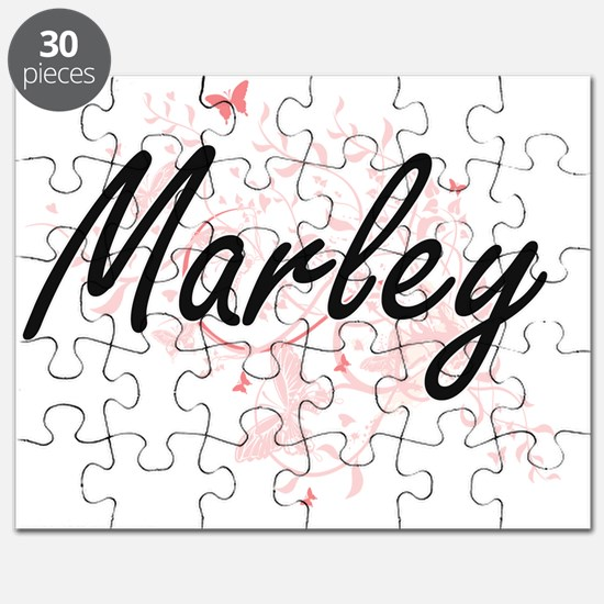 Marley Artistic Name Design with Butterflie Puzzle