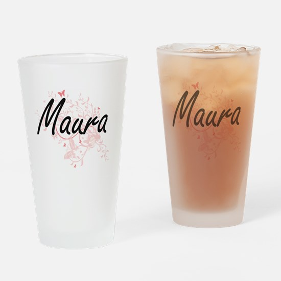 Maura Artistic Name Design with But Drinking Glass