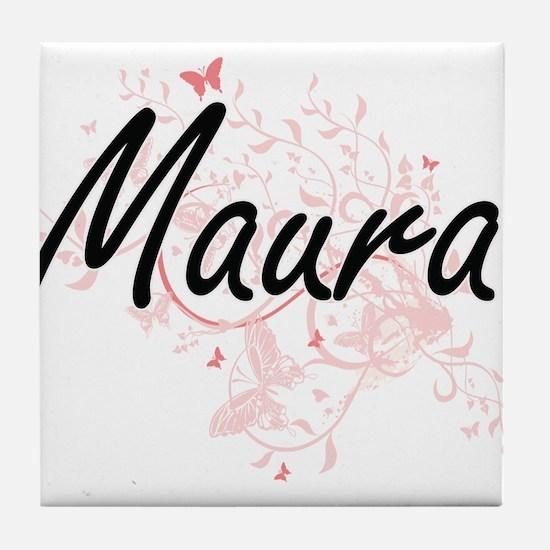 Maura Artistic Name Design with Butte Tile Coaster