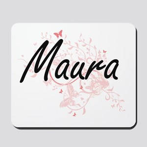 Maura Artistic Name Design with Butterfl Mousepad