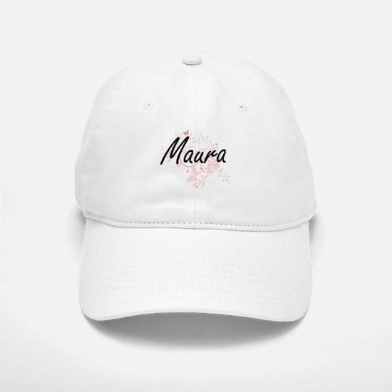 Maura Artistic Name Design with Butterflies Baseball Baseball Cap