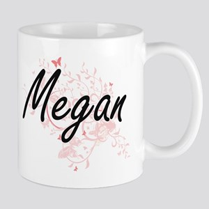 Megan Artistic Name Design with Butterflies Mugs
