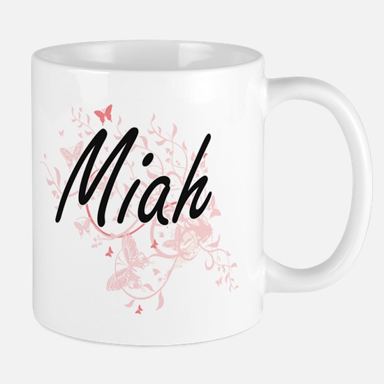 Miah Artistic Name Design with Butterflies Mugs