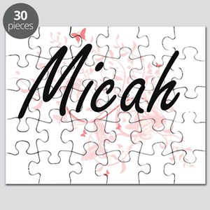 Micah Artistic Name Design with Butterflies Puzzle