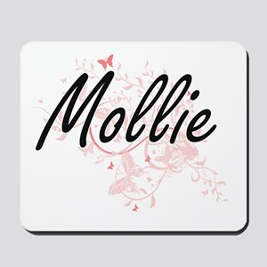 Mollie Artistic Name Design with Butterf Mousepad