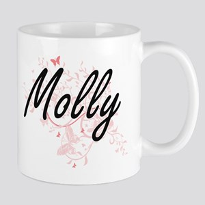 Molly Artistic Name Design with Butterflies Mugs