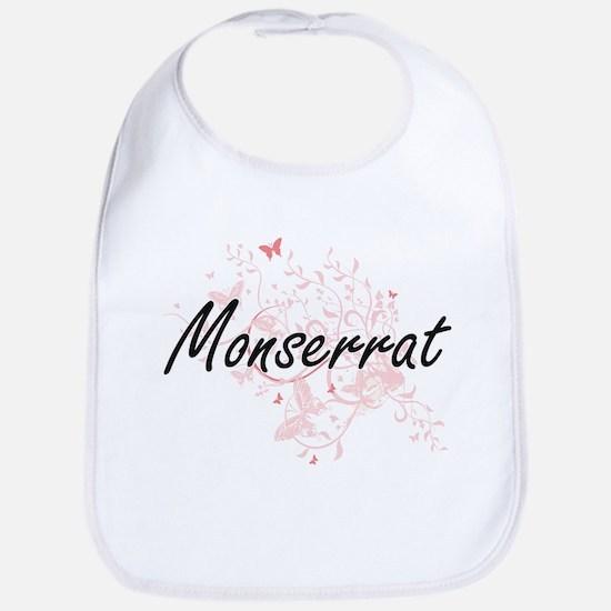 Monserrat Artistic Name Design with Butterflie Bib
