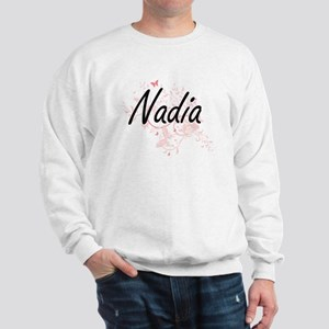 Nadia Artistic Name Design with Butterf Sweatshirt