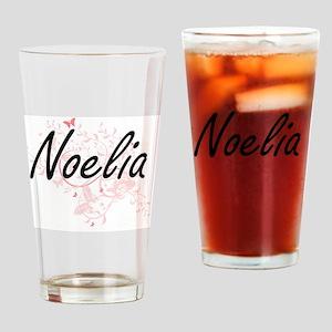 Noelia Artistic Name Design with Bu Drinking Glass