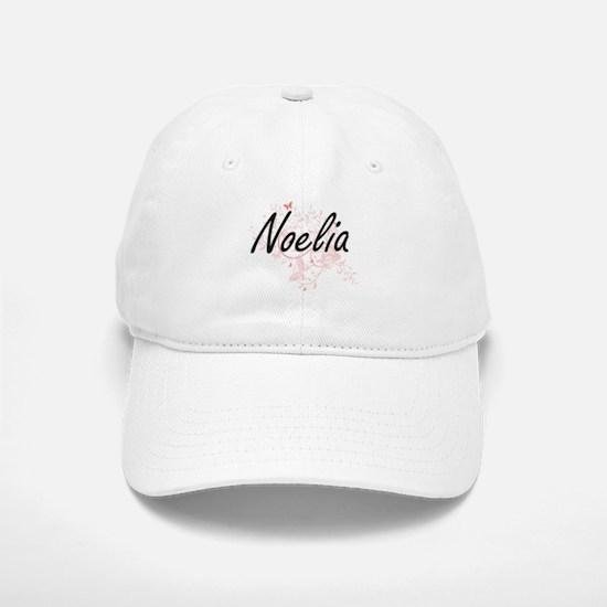 Noelia Artistic Name Design with Butterflies Baseball Baseball Cap