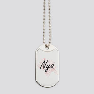 Nya Artistic Name Design with Butterflies Dog Tags