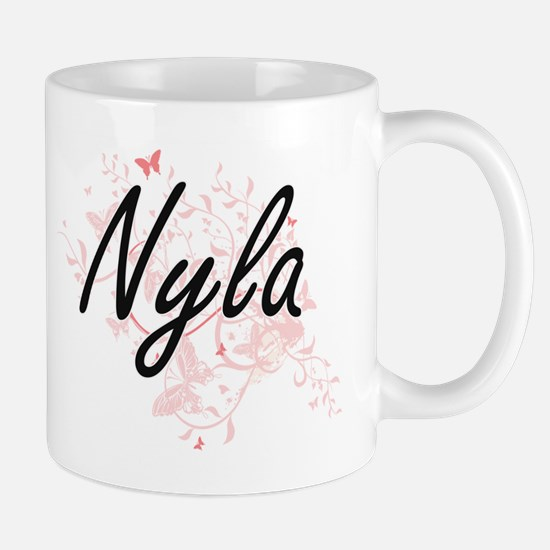 Nyla Artistic Name Design with Butterflies Mugs