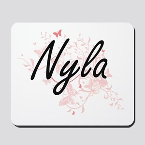 Nyla Artistic Name Design with Butterfli Mousepad