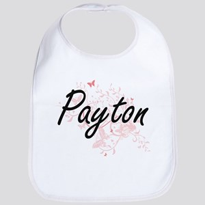 Payton Artistic Name Design with Butterflies Bib