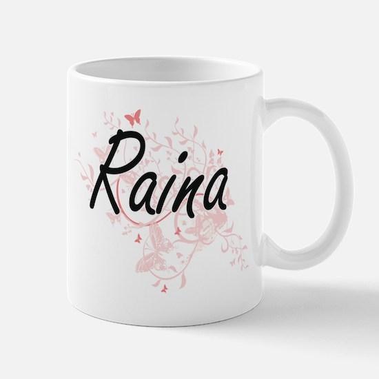 Raina Artistic Name Design with Butterflies Mugs