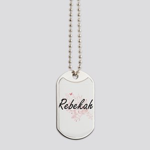 Rebekah Artistic Name Design with Butterf Dog Tags
