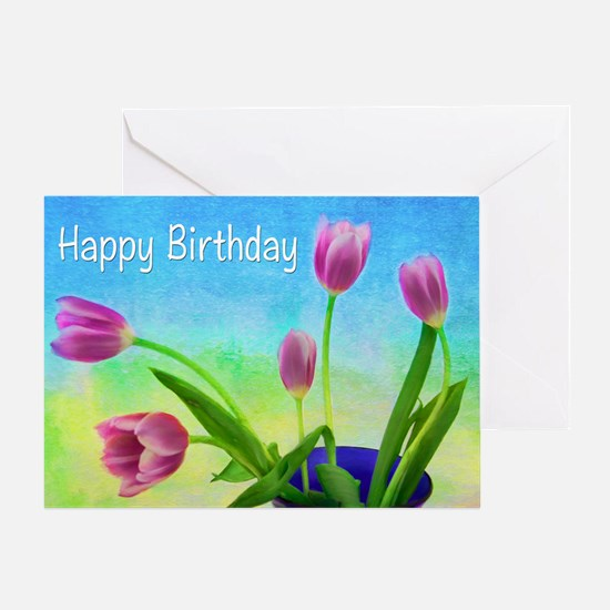 Happy Birthday Purple Tulips Greeting Cards