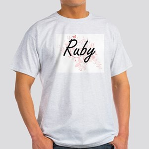 Ruby Artistic Name Design with Butterflies T-Shirt