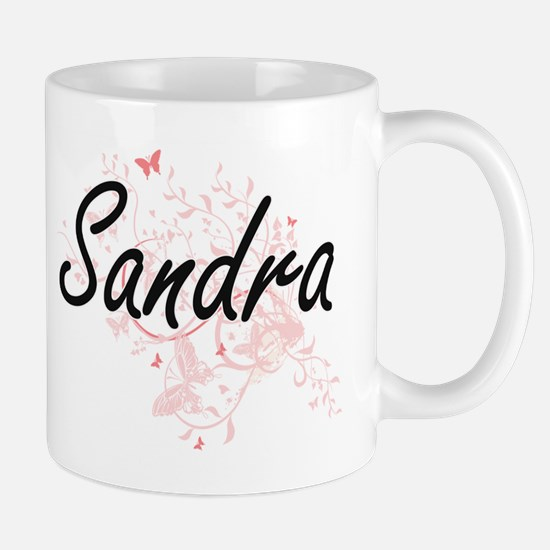 Sandra Artistic Name Design with Butterflies Mugs