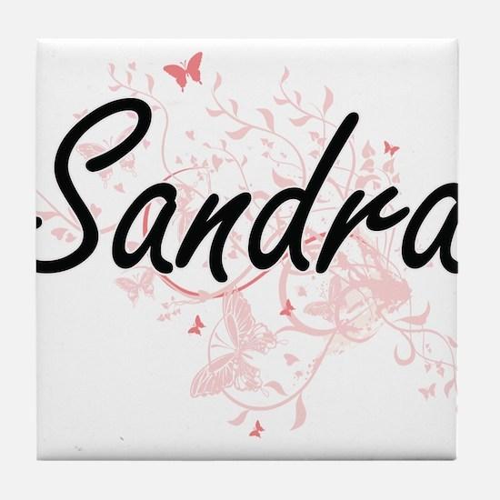 Sandra Artistic Name Design with Butt Tile Coaster