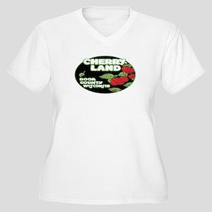 Vintage Cherry Land Women's Plus Size V-Neck T-Shi