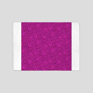 Hot Pink Tudor Damask 5'x7'Area Rug