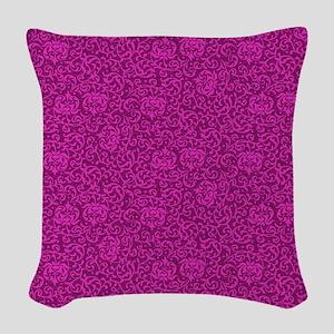 Hot Pink Tudor Damask Woven Throw Pillow