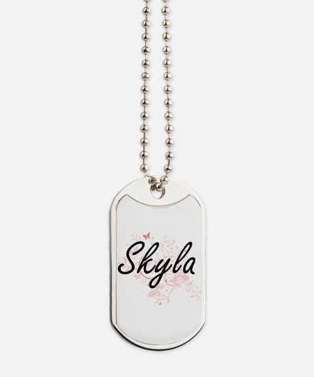 Skyla Artistic Name Design with Butterfli Dog Tags