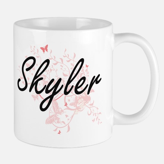 Skyler Artistic Name Design with Butterflies Mugs