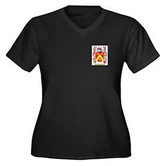 Moselli Women's Plus Size V-Neck Dark T-Shirt