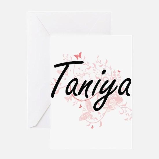 Taniya Artistic Name Design with Bu Greeting Cards